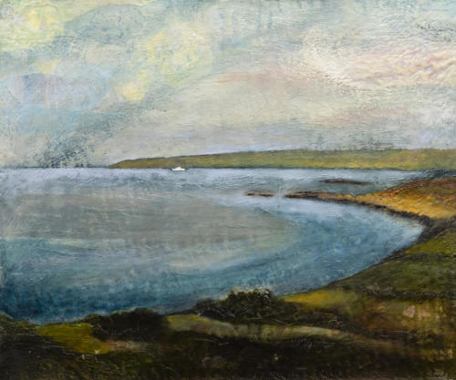 'Scillonian' Encaustic collage on cradled board 2018