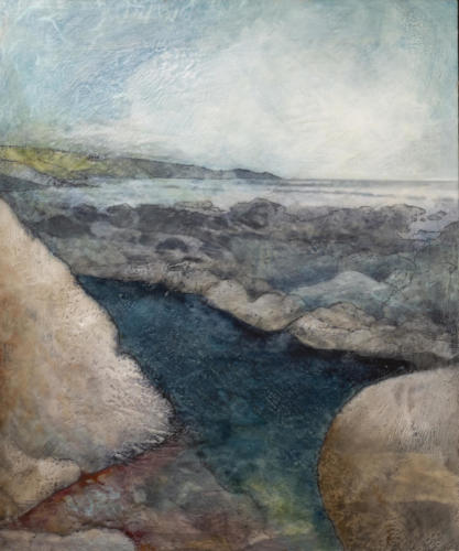 'The Pool and the Sea'Encaustic collage on cradled board 2018