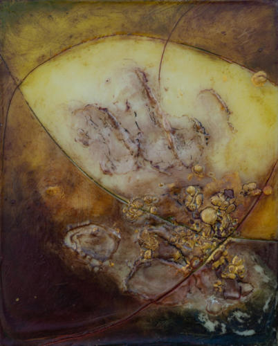 'Brought up to grass'Encaustic on cradled board 2018