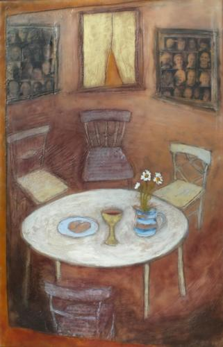 'The church's banquet'Encaustic on cradled board 2015