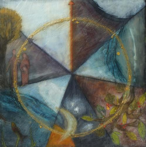 'The six day's world transposing in an hour'Encaustic on cradled board 2015