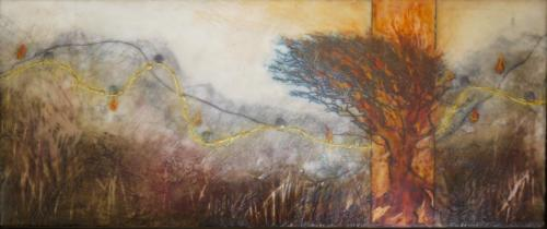'Heart in pilgrimage'Encaustic on cradled board 2015