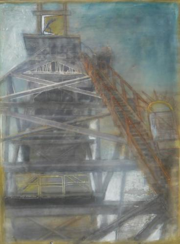 'Engine against the Almighty'Encaustic on cradled board 2015