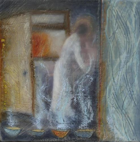 'Angel's age'Encaustic on cradled board 2015