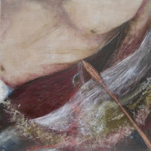 'Christ side-piercing spear'Encaustic on cradled board 2015